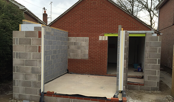 Garage under construction
